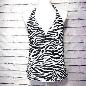 Catalina Black & White Zebra Prnt Tankini Swimsuit